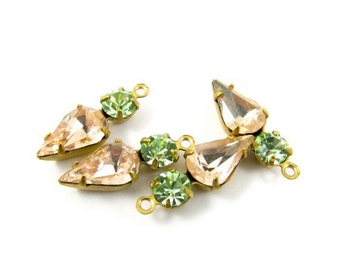 2 - Vintage Pear Teardrop Set Stones Round Rhinestones 1 Ring Brass Settings Rosaline & Chrysolite - 18x6mm .