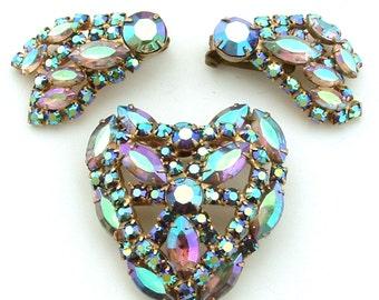 Party Rhinestone Jewelry Set Juliana D & E Aurora Borealis Pink Purple Lavender Shooting Stars Iridescent