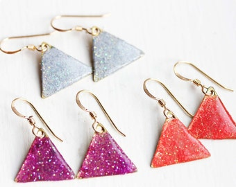 Sparkly Triangle Earrings - Gray, Purple, Coral, Blue, Green