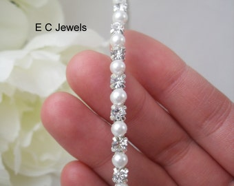 Narrow Rhinestone and Pearl Headband / Tiara