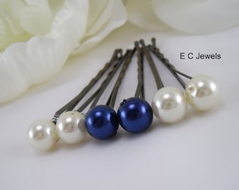Something Blue and Ivory Combo Hairpins