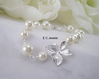 Orchid and Pearls Bracelet