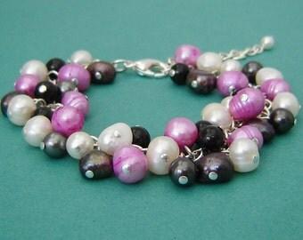 Freshwater Pearl Bracelet - Black, White and Fuschia