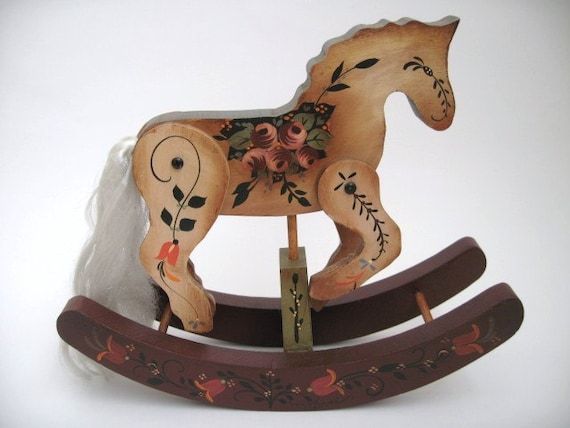 Hand made wooden rocking horse 8 hand painted for Hand crafted rocking horse