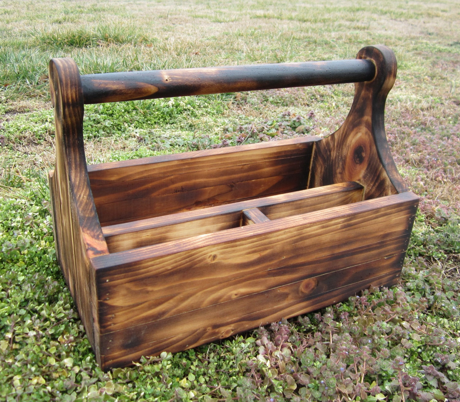 Wood tool box country decor rustic lodge wooden tote for Wooden garden ornaments and accessories