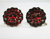 1920s Vintage Art Deco Earrings - Ruby Red - Czech Glass - Molded Glass - Faceted - July - WickedDarling