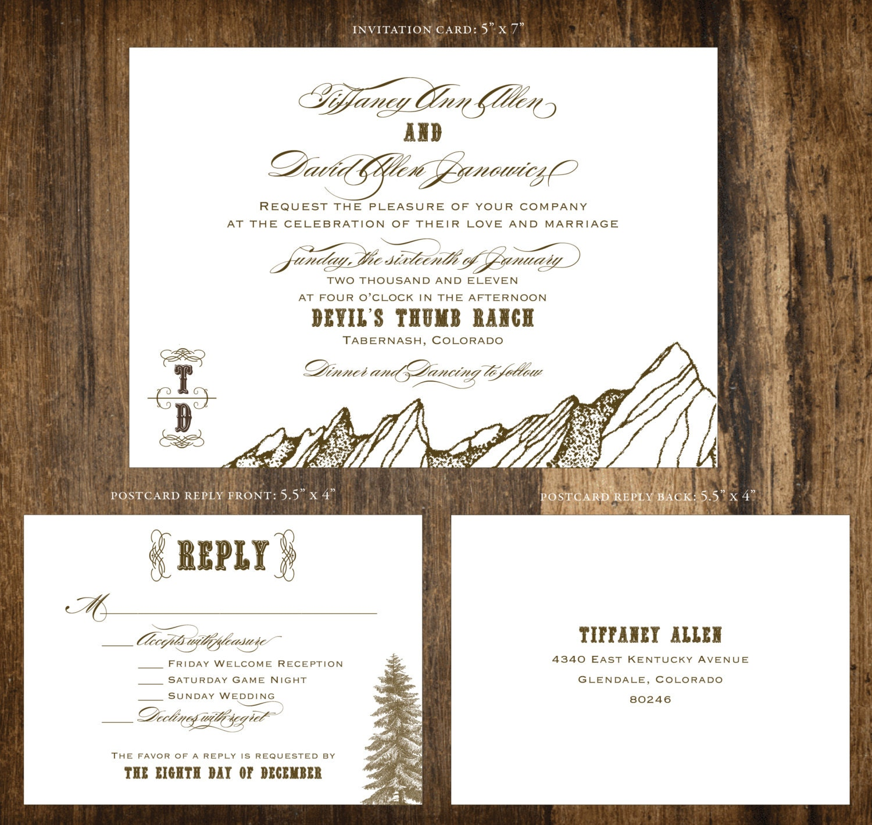 mountain wedding invitations - 28 images - wedding invitation tree ...