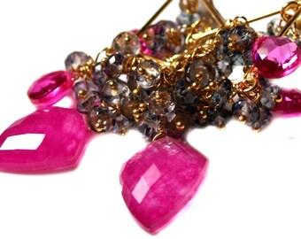 Ruby Earrings, Gray Cluster Topaz Earrings, Swiss Blue Topaz Hot Pink Quartz Jewelry. Chandelier Earrings. Statement Bollywood Earrings