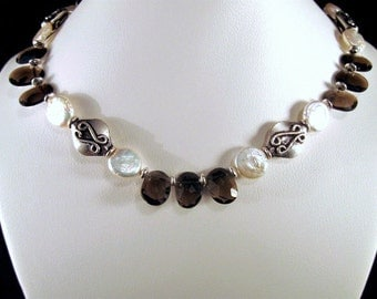 Smoky Quartz Necklace with Coin Pearls in Silver