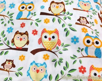 Owl Hoot Collection, Lovely Spring Colorful Baby Owls On Branches, White-Cotton Fabric (1/2 Yard)