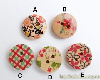 Wooden Buttons, Painted Color - Chic Flower Floral Branch Cherry Blossom Check Collection (4PCS, Choose Pattern)