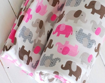 SALE Clearance - 1 YARD Zoology Pink Brown Grey Dots Baby Elephant Elephants Collection - Knit Jersey Fabric (1 Yard, 35.4x59 Inches)
