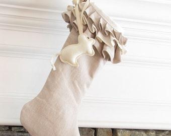 Cat Christmas Stocking Linen Pet Ruffle Top