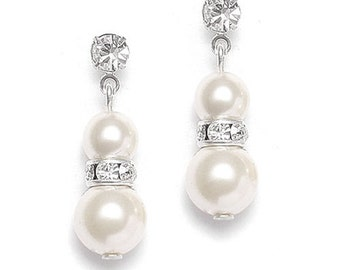 Dangle rhinestone and sterling and  pearl earring formal evening prom special occasion
