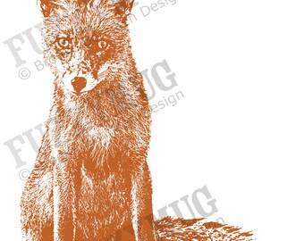 Curious Little Fox-  5x7 Art Print