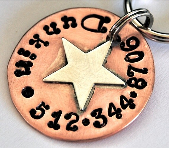 Custom Pet id tag / Super Star Copper and Sterling
