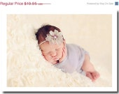 Newborn Baby Wrap - Photography Prop and Wrap Set - Cheesecloth Wrap - Gray - Newborn Headband - Infant Headband - Photogr