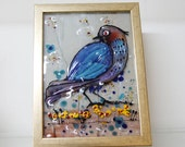 Fused Glass Painting  - blue bird  landscape painting on glass