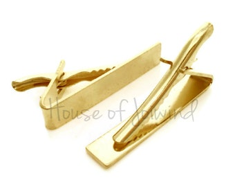 "12 pieces Gold Plated TIE BARS Clips - Flat for easy Customization - 1 5/8"" long x .3"" (41x8mm)"