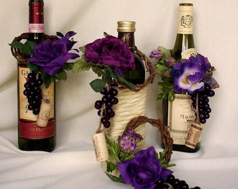 Vineyard Weddings decoration Wine BottleToppers cork Grape Set of 8 Purple Centerpieces flower accessories reception decor Made to Order