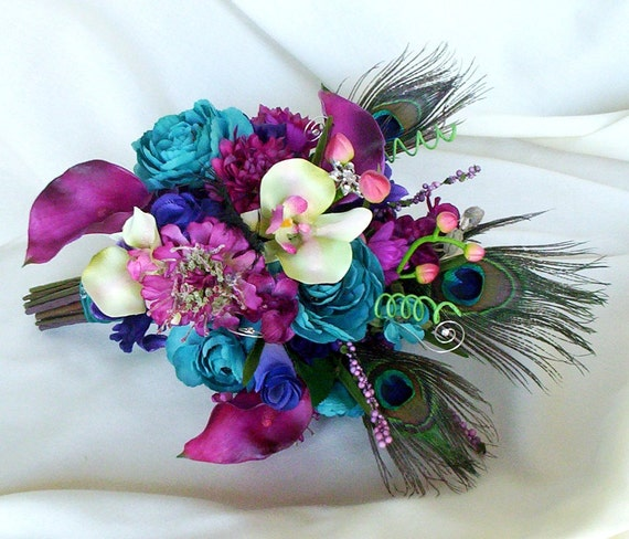 Teal And Purple Wedding Flowers: Fuschia Peacock Bouquet Wedding Accessories 2013 Bridal Trends