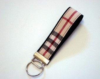 Wristlet Key Fob / Key Chain - Black, Tan, Red Plaid with Black Cotton Webbing