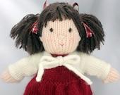 Custom Order for Ann.                               Miranda - hand knitted doll, softie