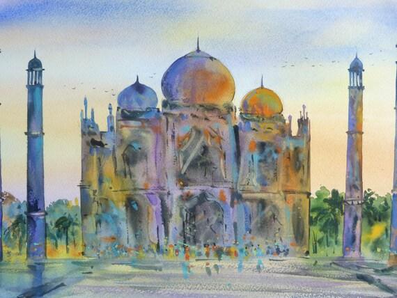 Free Shipping India Taj Mahal Original Watercolor by ...