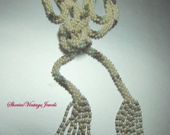 Art Deco  Tassel Necklace Seed Pearls Amazing 50 inch length 1920s Flapper Jewelry
