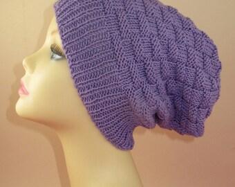 Instant Digital File PDF Download knitting pattern only -  Basket Weave Spring Slouch Hat pdf knitting pattern