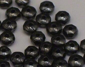 100 Hematite 4mm Czech Glass Rondelle Beads