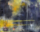 Rain 5 Original Abstract Painting 24x32 inch UNSTRETCHED Rolled in a tube