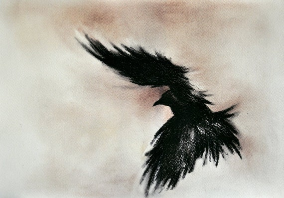 Flying Raven original charcoal drawing dark gothic art 8x11