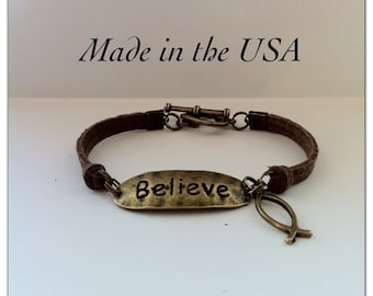 Believe Ichthus Bracelet, Brown Suede Leather Believe Ichthus Bracelet