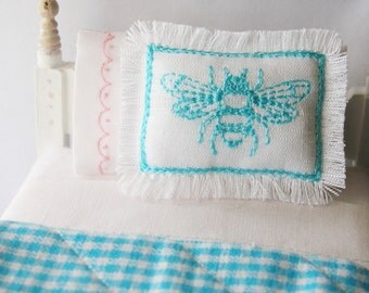 1:12 Turquoise Bee Pillow Handmade Dollhouse Scale Miniature - Shabby Cottage Chic French *Free Shipping*
