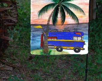 Camper Camping Garden Flag from art. Available in 2 sizes