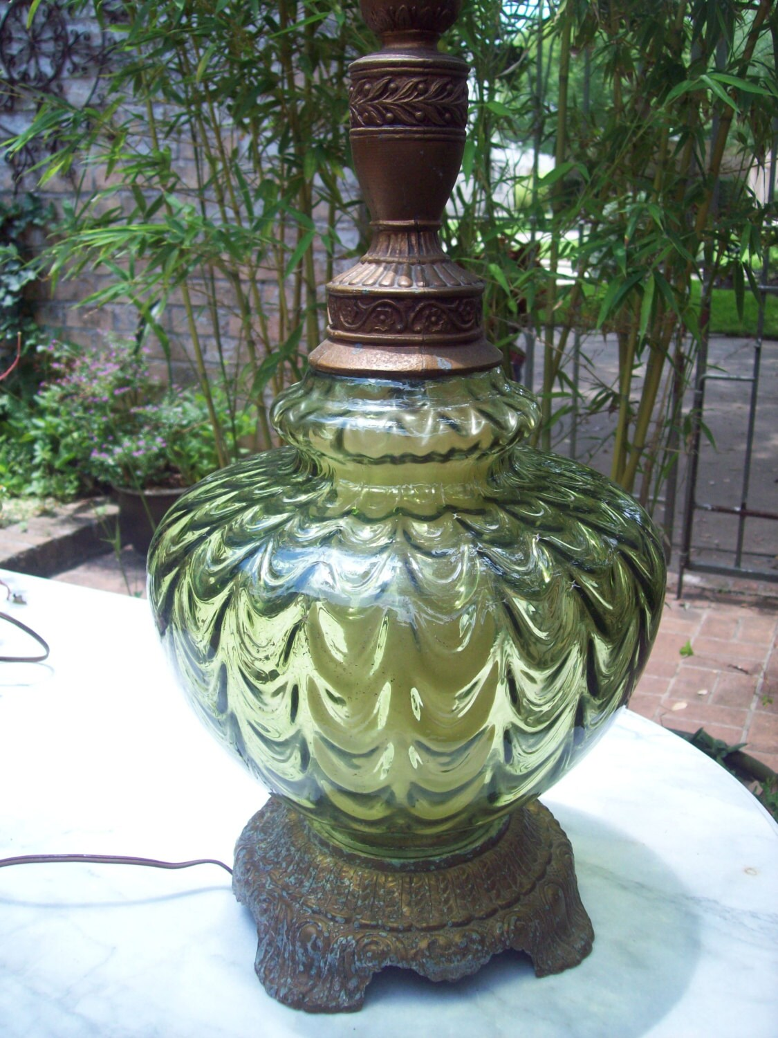 Vintage 1970 S Green Glass Table Lamp