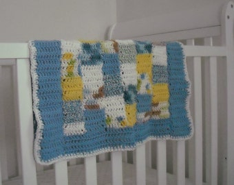 Crochet Patchwork Cotton Baby Blanket by knittingbyheather