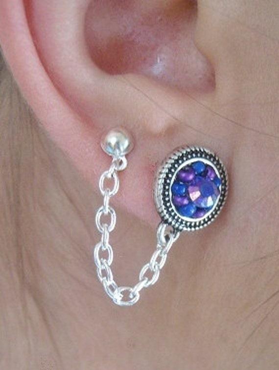 One Double Piercing Earring Two Hole Ear Chain Purple Amethyst