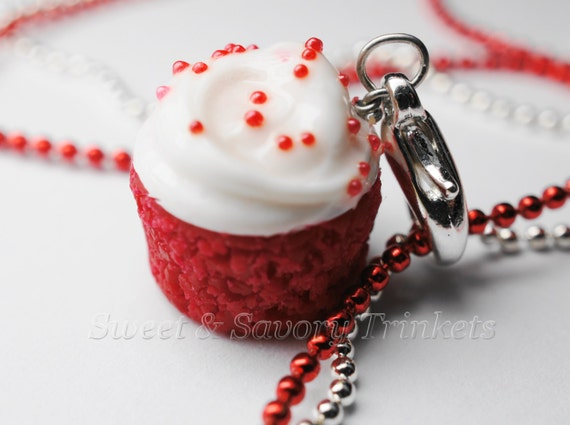 Red Velvet Cupcake Necklace pendant, Miniature Food Jewelry