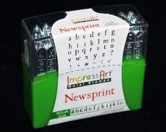 Newsprint Lower Case Letter Stamp Set 3mm With 6 Bonus 33pcs Free U.S. Shipping