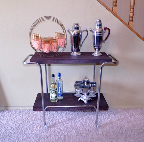 Vintage Eames Era Cocktail Cart / Retro Wood and Chrome Bar Cart