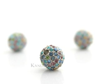 Spring Pastel Pink, Green, Blue, Yellow, Rhinestone Pave Bead Bright Silver Color Zinc 8mm ONE Bead