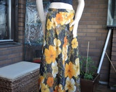 Vintage late 60s early 70s flower maxi skirt orange yellow green black Medium