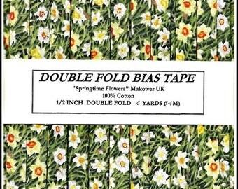 Handmade Tape - Daffodils - 1/2 Inch Double Fold Bias