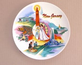 Vintage Souvenir Plate New Jersey Kitschy and Colorful, Reutter Porcelain Collectors Plate