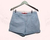 Hipster Pale Blue Gingham Shorts Gloria Vanderbilt W 30 31 cut-off shorts Roll up, High Rise Sun Bleached Blue Jean Shorts