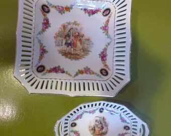 Set of 2 Vintage Hand Painted German Porcelain Reticulated Trinket Dishes