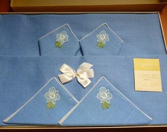SALE Vintage Blue Rayon 52 X 52 Tablecloth Plus 4 Napkins, Empress, Unopened, 1950s, NOS