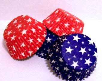 Red and Blue Star Cupcake Liners- Choose Set of 50 or 100